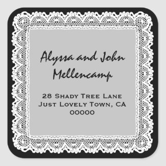 Black and White Lacy Address Labels Square Sticker