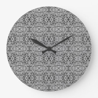 Black and White Lacy Boho Chic Pattern Wall Clock