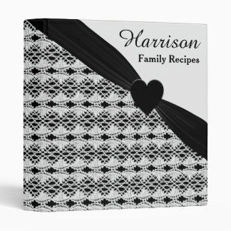 Black And White Lacy Hearts Recipe 3 Ring Binder
