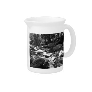 Black And White Landscape 25 Drink Pitcher
