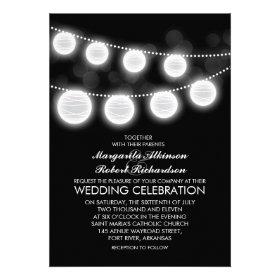 black and white lanterns wedding invitation