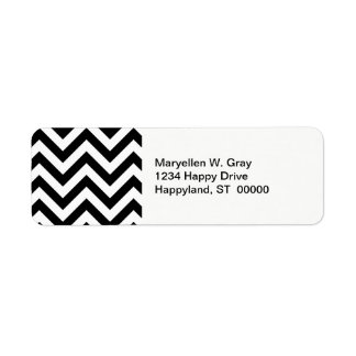 Black and White Large Chevron ZigZag Pattern Label