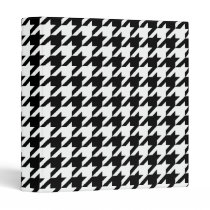 Black and White Large Houndstooth Pattern 3 Ring Binder
