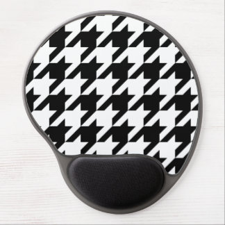Black and White Large Houndstooth Pattern Gel Mouse Pads