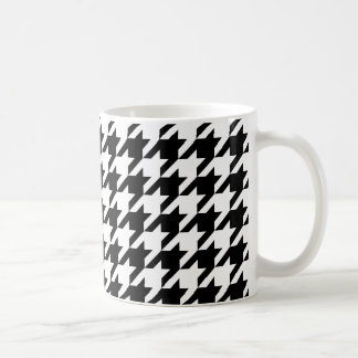 Black and White Large Houndstooth Pattern Classic White Coffee Mug