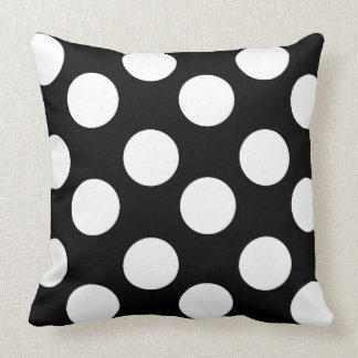 Black and White Large Polka Dot Accent Pillo Throw Pillow