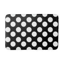 Black and White Large Polka Dot Bath Mat
