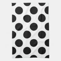 Black and White Large Polka Dot Kitchen Towel