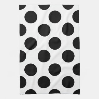 Black And White Large Polka Dot Kitchen Towel at Zazzle