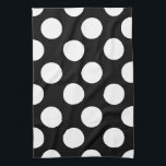"""Black and White Large Polka Dot Kitchen Towel<br><div class=""""desc"""">Add some contemporary style to your kitchen with these pretty,  large size polka dot print towels. Customize color of dot.</div>"""