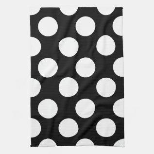 Black And White Large Polka Dot Kitchen Towel at Zazzle