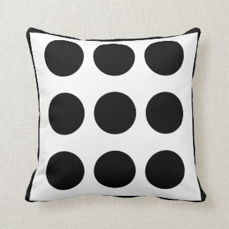 Large Dot Black and White Toss Pillow