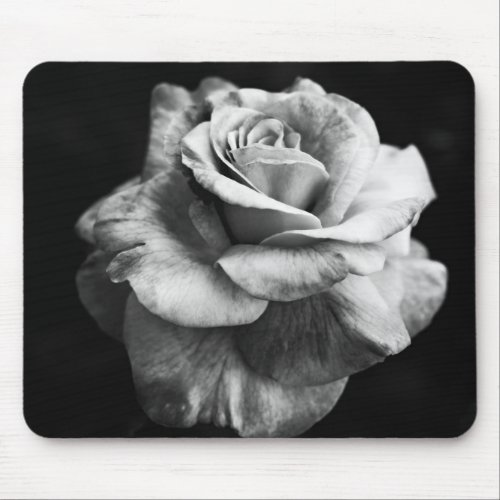 Black & White Large Rose Mousepad