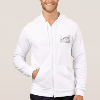 black and white largemouth bass chasing lure. hoodie
