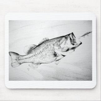 black and white largemouth bass chasing lure. mouse pads