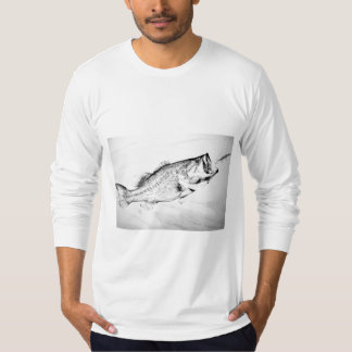 black and white largemouth bass chasing lure. T-Shirt