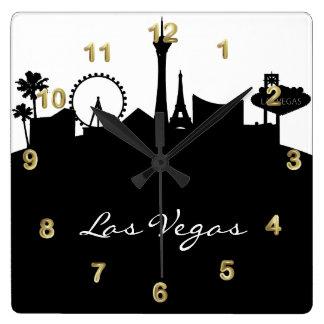 Black and White Las Vegas Skyline Wall Clock