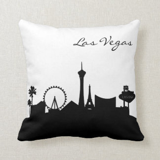 Black and White Las Vegas Skyline Throw Pillow