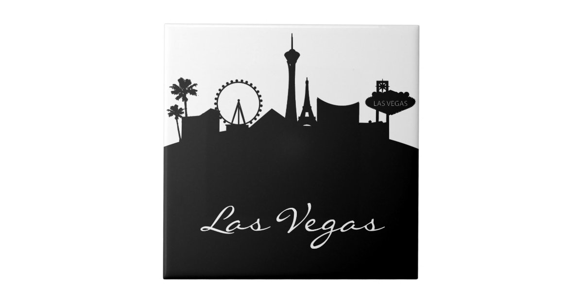 Black and white las vegas skyline tile zazzle for Arts and crafts stores in las vegas