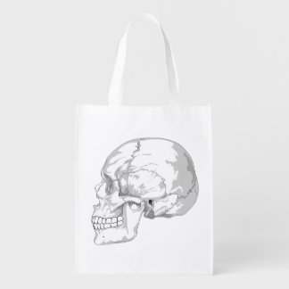 BLACK AND WHITE LATERAL SKULL GROCERY BAG
