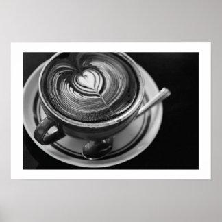 Black and White Latte Art - Mocha Cafe Art Poster