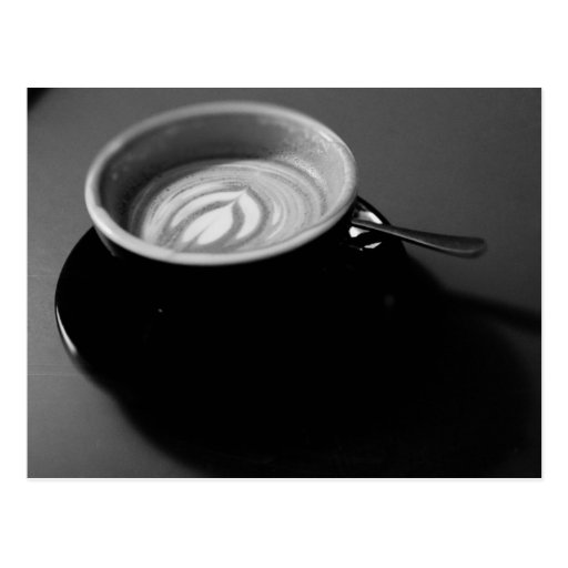 Black and white Latte with Latte art Postcard