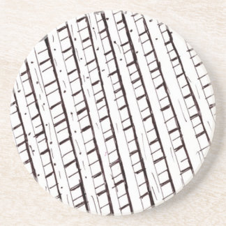 Black and white lattice fence design coaster