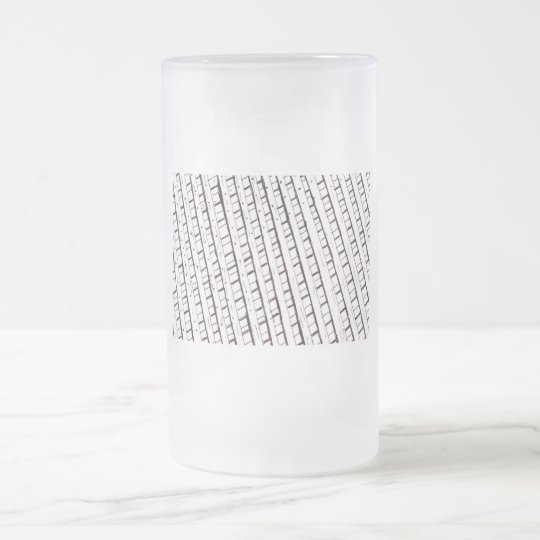 Black and white lattice fence design frosted glass beer mug