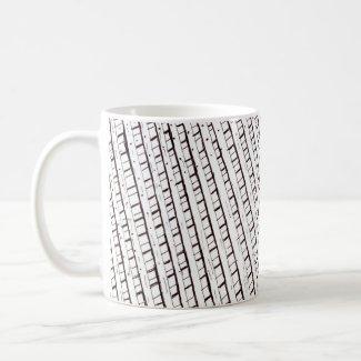 Black and white lattice fence design mug