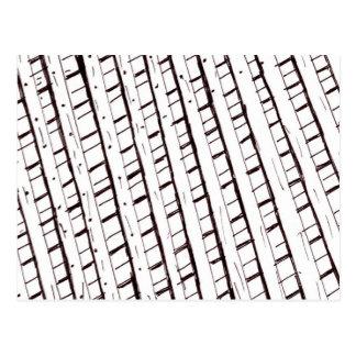 Black and white lattice fence design postcard