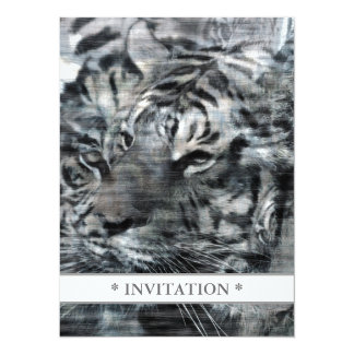 Black and White Layered Tigers Vintage Card