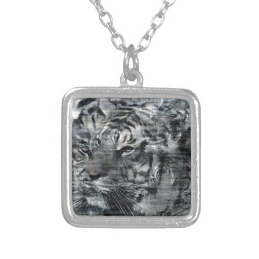 Black and White Layered Tigers Vintage Square Pendant Necklace