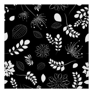 Black and White Leaf Abstract Poster