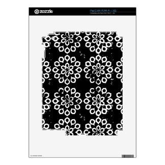 Black and White Leaf Flower Petal Pattern iPad 2 Decal