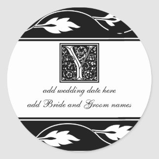 Black And White Leaf Monogram Y Stickers