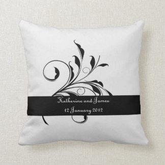 Black and white Leaf Wedding custom Throw Pillow