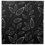 Black and White Leaves Cloth Napkin