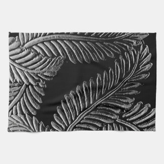 Black and White Leaves Kitchen Towel