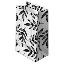 Black and White Leaves Pattern Small Gift Bag