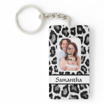 Black and white leopard animal print keychain