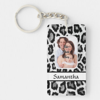 Black and white leopard print rectangle acrylic key chain
