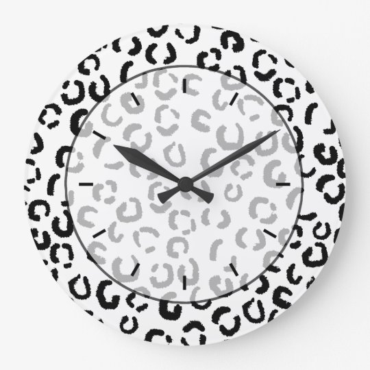Black and White Leopard Print Pattern. Large Clock