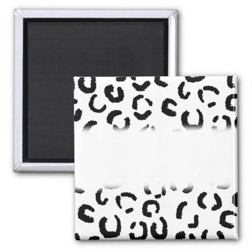 Black and White Leopard Print Pattern. Magnets