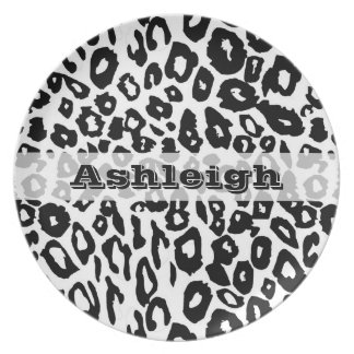 Black and White Leopard Print Plates