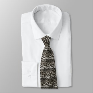 Black and White Leopard Print Tie