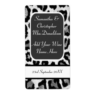 Black and white leopard print wedding wine bottle shipping label