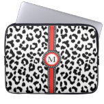 black and white leopard print  with monogram laptop computer sleeve