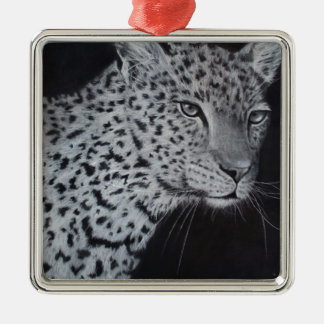 Black and white leopard sketch metal ornament