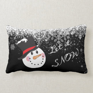 Black and White Let it Snow Lumbar Pillow