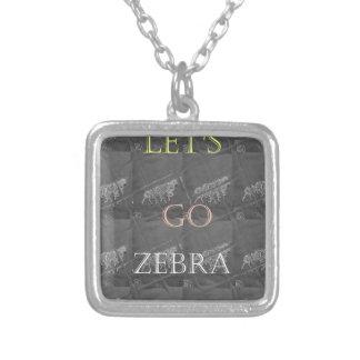 Black and White Lets Go Zebra  Hakuna Matata motif Silver Plated Necklace